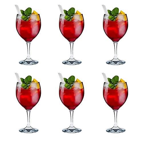 Set 6 Copas de Cristal de 65.5cl, Copas de Vidrio para Vino Agua y Cocktail, para Uso en Casa Restaurantes y Fiestas