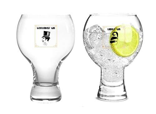 Wrenbury Gin Glasses Ladies & Gente Gentlemen's Gin Glass Set of 2 | 19oz/540ml Spanish Copa Gin Balloon Cocktail Red Wine Glass | Solid Base Stackable Design Short Stem Gin Glass