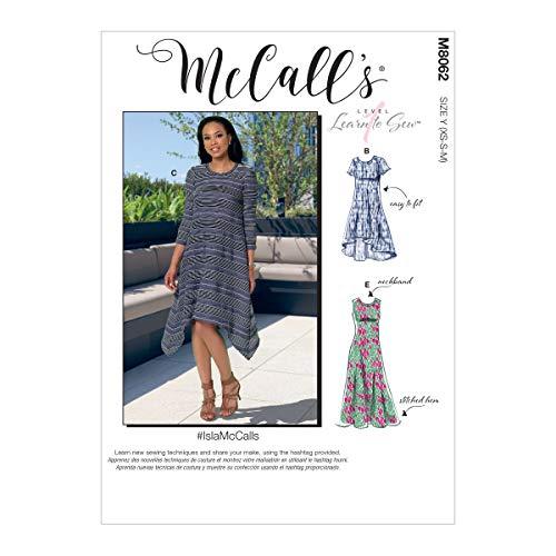 McCalls Patroon M8062Y Misses' rechte, zakdoek of hoge lage zoom jurken Y (XSM-SML-MED), diverse
