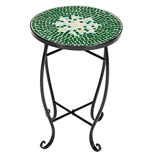 1 Pcs Round Table Green Color Elegant Mosaic Side Table Round Patio Courtyard Living Room - GWT3010 | #YY17E