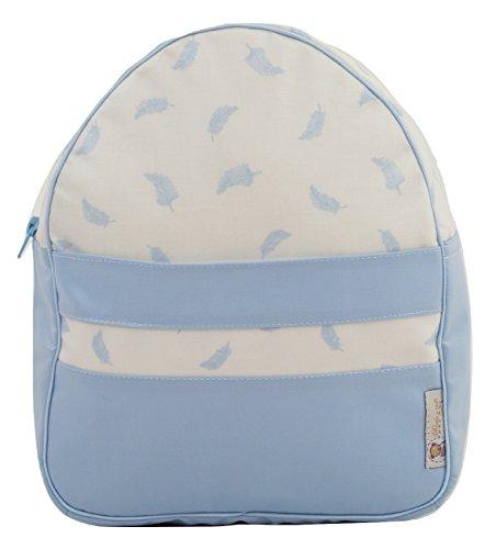 Mochila o bolsa infantil plastificada para colegio o guardería. Modelo little nordic. Plumas azul