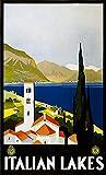 Sanguolun Cuadro En Lienzo Impresión del Cartel del Arte de los Lagos Italianos del Viaje 60x90cm