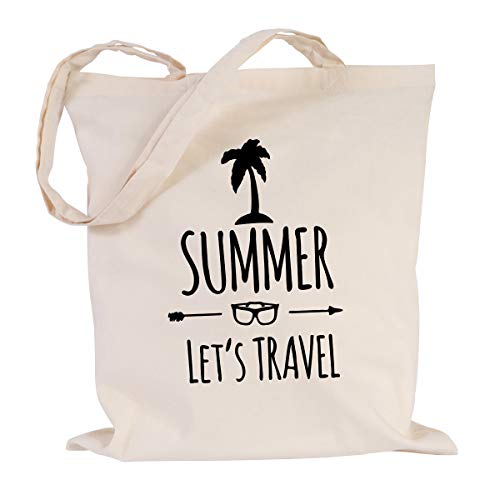 JUNIWORDS Jutebeutel, Wähle ein Motiv & Farbe, Summer - Let's travel (Beutel: Natur, Text: Schwarz)