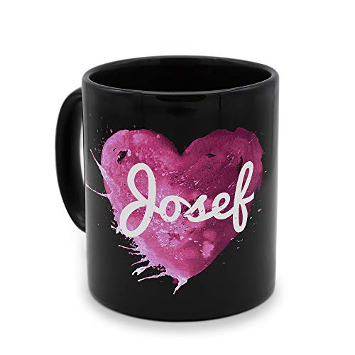 printplanet - Tasse Schwarz mit Namen Josef - Motiv: Painted Heart - Namenstasse, Kaffeebecher, Mug, Becher, Kaffeetasse