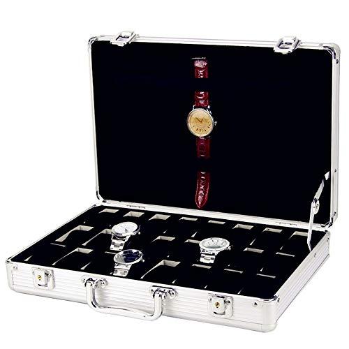 HFDXG Uhrenboxen Watch Box 24 Grid-Aluminiumlegierung-Uhr-Anzeigen-Aufbewahrungsbehälter-Uhr-Organizer-Vitrine (Color : Silver, Size : Free Size)