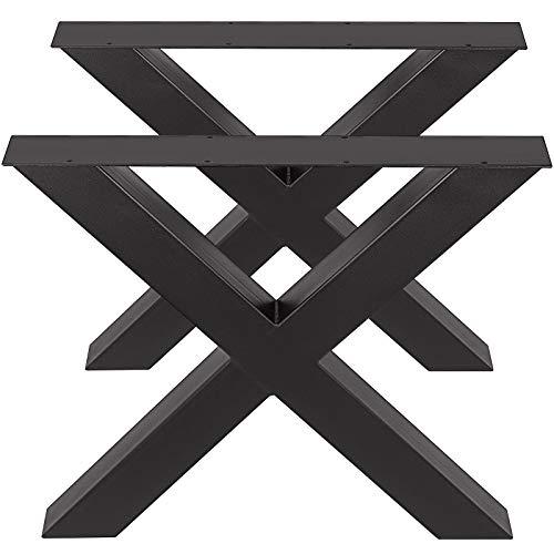 VEVOR Patas de Mesa, 720 x 790 mm Mesa de Comedor de Metal con Marco en X Escritorio Negro, Conjunto de 2 Patas de Mesa de Acero de Calidad, Patas para Muebles Tienda de Café Bar de Oficina en Casa