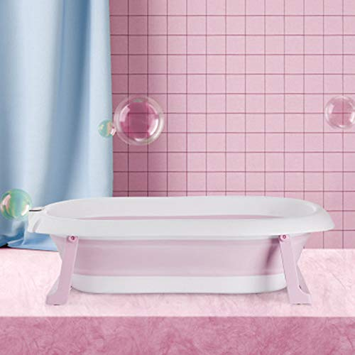 MTX-RM Tragbare Badewanne Temperatur-Sensor-Baby-Wannenfaltwand Bad Barrel Kind Badewanne Schwimmen Barrel Startseite Große Neugeborenes Can Sit,Pink a