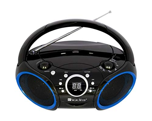 SINGING WOOD Portable CD Player AM FM Radio with Aux Line in, Headphone Jack, Foldable Carrying Handle (Black with a Touch of Blue Rims)