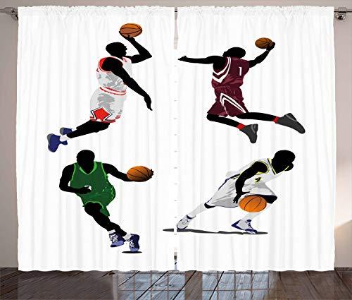 ABAKUHAUS Deportes Cortinas, Jugadores de Baloncesto Deporte, Sala de Estar Dormitorio Cortinas Ventana Set de Dos Paños, 280 x 175 cm, Multicolor