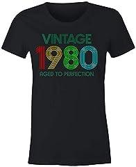 6TN Camiseta Mujer Vintage 1980 Envejecido a la Perfección
