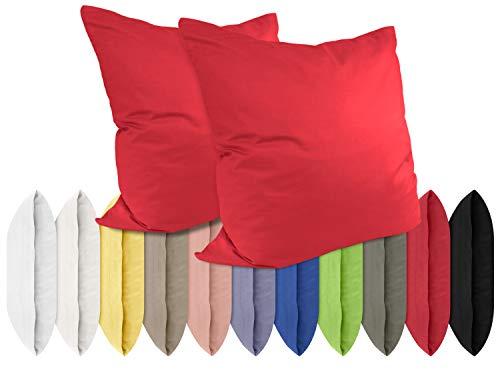 npluseins Renforcé-Kissenbezüge im Doppelpack - 100% Baumwolle – schlicht und edel im Design, in 11 Uni-Farben, 40 x 40 cm, rot