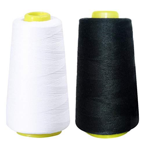 Artibetter - 2 bobinas de hilo de coser de poliéster de alta resistencia para máquinas de coser y serger, color negro y blanco