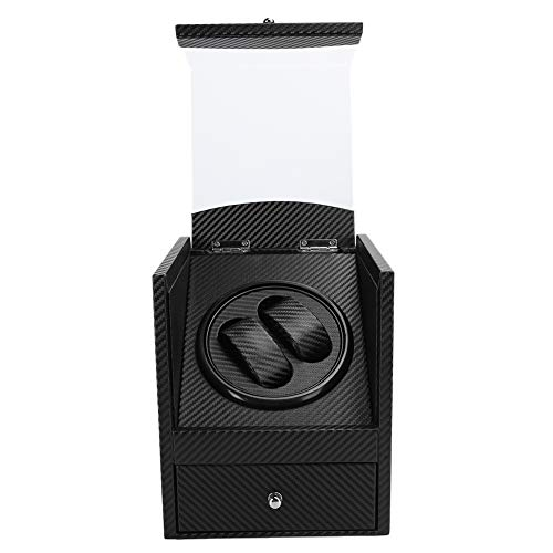 Caja de enrollador de reloj doble automática,caja de presentación de enrollador de reloj compacta de cuero PU, motor súper silencioso,alimentado por batería y adaptador de CA, para hombre y(EU)