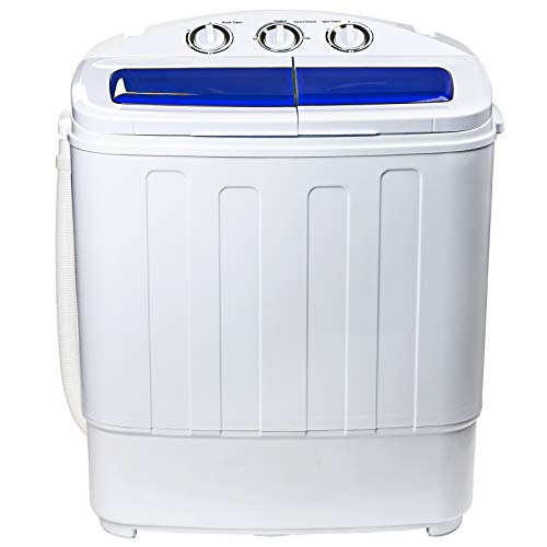 Display4top Mini Portable Twin Tub Washing Machine w/Wash and Spin Cycle,8lbs Capacity Compact Washer Spin Dryer for Camping,Dorms,Apartments (White/Blue)