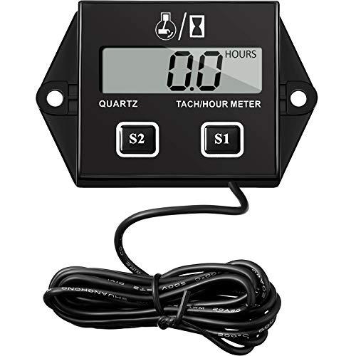 Digitaler Stundenzähler Drehzahlmesser Induktiver Betriebsstundenzähler Austauschbare Batterie Wasserdichter Drehzahlmesser für Rasenmäher Traktor Motorrad, 2 Takt, 4 Takt Klein Motor