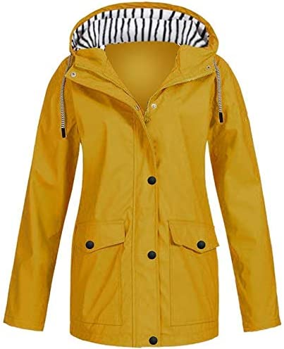 Keepmove Women/'s Solid Rain Jacket Outdoor Jackets Waterproof Hooded Raincoat Windproof
