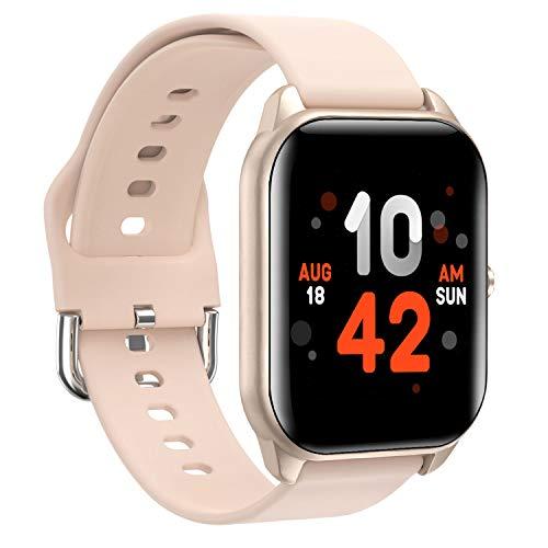 DUODUOGO Smartwatch per Uomo Donna, Orologio Fitness portivo Impermeabile IP68 Smart Watch Cardiofrequenzimetro da Polso Contapassi Bluetooth Touch Conta Calorie Activity Tracker per Android iOS(Oro)