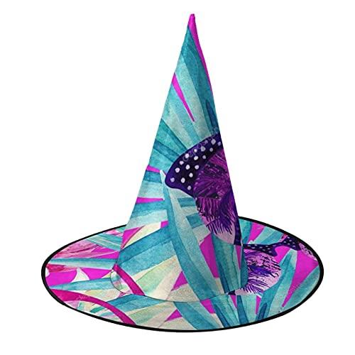 Sombrero de bruja unisex para Halloween, disfraz de palmera, piña, gafas de sol con patrón de flores, accesorio para cosplay de mascarada para niños, hombres, mujeres, color negro