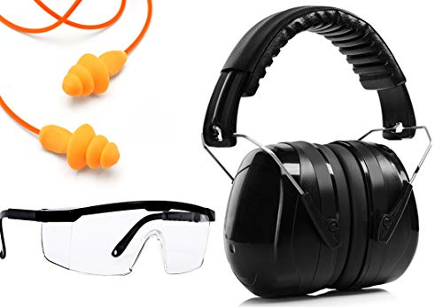 Ear Noise hearing Protection Muffs, Ear Plugs, Safety Glasses, for Shooting, Mowing Gift Set (Black)
