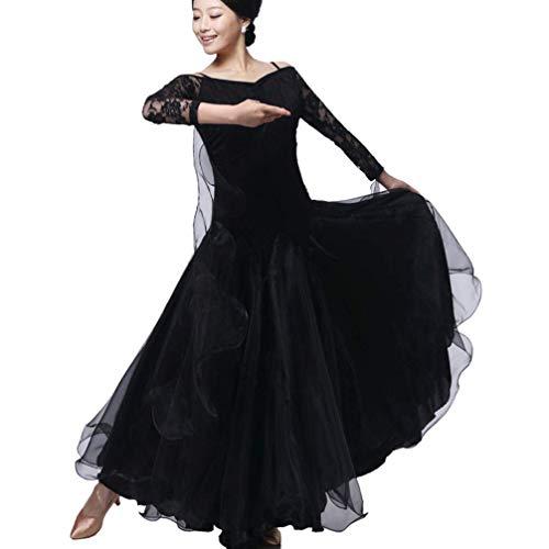 Abito da Ballo Moderno per Donna Standard Nazionale Vestito da Ballo Cuciture in Pizzo Tango Valzer Gonna Pratica Tulle Swing, Black, XXXL