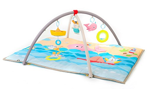 Taf Toys Seaside Pals Baby Gym | Enables Easier Development & Easier Parenting Supersize, Extra Padded Removable Arches, Soft Play Mat, Lightweight, Portable, Car Seat/Cot Hanging Toys, for New-Born