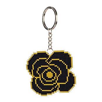 DIY Keychain Cross Stitch Kits DIY Rose Flower Bead Cross Stitch Keychain Stamped Needlework Kit  SMX-023