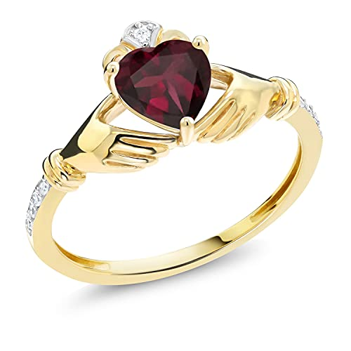 Gem Stone King 10K Yellow Gold Irish Celtic Claddagh Red Rhodolite Garnet and Diamond Accent Women Ring (0.78 Cttw, Available in size 5, 6, 7, 8, 9)