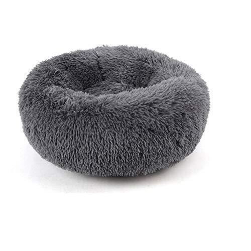 Warmiehomy Rund Hundebett 80CM Weich Katzenbett Hundekissen Doughnut-Form Plüsh für Kleine Große Haustiere Dunkel Grau