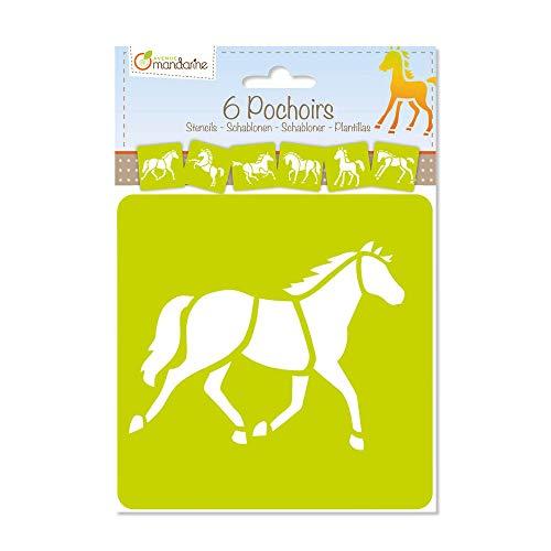 Avenue Mandarine 42644O Set (mit 6 Schablonen, 15 x 15 cm, geeignet für Kinder ab 3 Jahre, für Filz- und Farbstifte, Farben oder Farbbomben, Pferde) 6er Pack