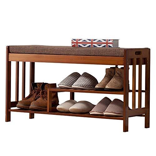GENFALIN 100% Banco de bambú Zapatero, de 3 Niveles Puerta de Entrada del Organizador del almacenaje con los Asientos, Zapatos de Plataforma Botas, Ideal for Pasillo Baño Cocina Sala de Estar Pasillo