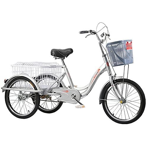 ZNND Triciclo Adulti Triciclo Adulti Triciclo per Adulti A Pedalata Assistita Bici A Tre Ruote Cruiser Trike con Cestino Acquisto per Gli Sport all'Aria Aperta Picnic Shopping (Color : Silver)