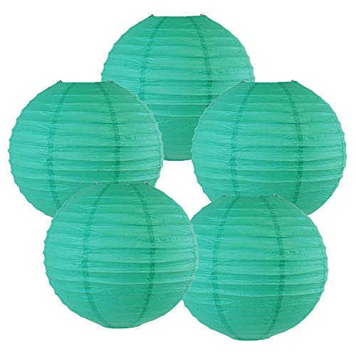 "Just Artifacts 10"" Teal Blue Green Paper Lanterns (Set of 5) - Click for more Chinese/Japanese Paper Lantern Colors & Sizes!"