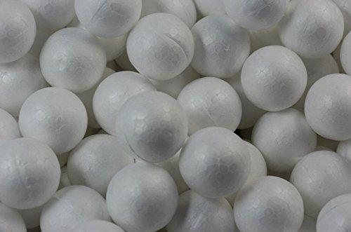 Chengyida 50-pack Mini boules de travaux manuels en mousse pour le modelage, 25 mm/2,5 cm, Blanc