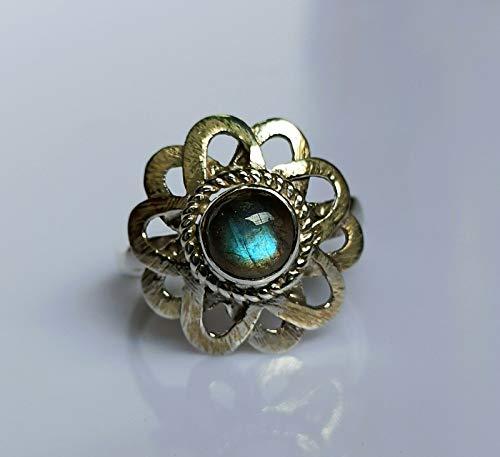 Anillo de plata de labradorita, anillo de plata de labradorita de fuego azul, plata de ley 925, anillo de plata, joyería hecha a mano, tamaño 4 a 29 ES