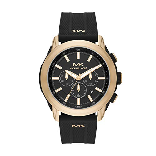 Michael Kors Men's Stainless Steel Quartz Watch with Silicone Strap, Black, 21.9 (Model: MK8796)
