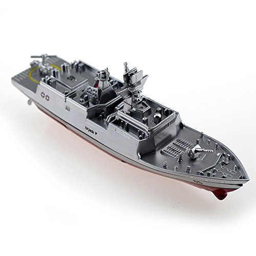 Tipmant Military RC Naval Ship Vessel Model Remote Control Boat Speedboat Yacht Electric Water Kids Toy (Antenna Not Required)- Silver
