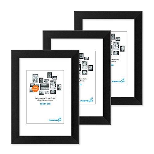 PHOTOLINI 3er Set Bilderrahmen 10x15 cm Modern Schwarz aus MDF mit Acrylglas/Portraitrahmen/Wechselrahmen