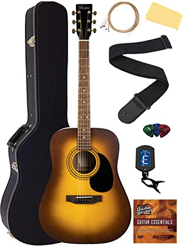 Barcelona D500 Acoustic Guitar - Sunburst Bundle with Hard Case, Strings, Tuner, Strap, Picks, Fender Play Online Lessons, Instructional DVD, and Austin Bazaar Polishing Cloth