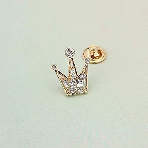 Mini broche de corona con diamantes de imitación de moda para mujeres y hombres, versión coreana del traje Retro, accesorios de Pin de Metal de Color dorado y plateado de cristal