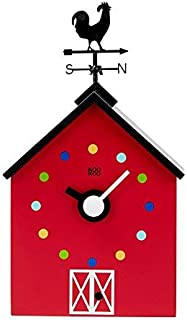KOOKOO Red Barn Small, Farmhouse Clock with 12 Animal Sounds, a Rooster and a Rotating weathervane, with Light Sensor, Made of MDF Wood, for Children 6+ Years