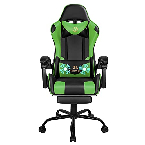 JL Comfurni Desk Chair Gaming Chair with Massage Executive Computer Chair Ergonomic Racing Chair with Padded Footrest Adjustable Swivel Chair Recliner with Constellation Lumber Headrest(Green)
