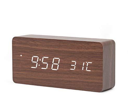 Klok wekker met ingebouwde Qi oplader voor mobiele telefoon Wood Alarmklok met Temperatuurmeter / HaverCo