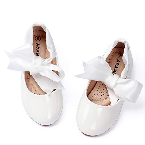 ADAMUMU White Ballet Shoes for Girls Toddler Princess Flat Dress UP Slip On Cute Bow Ballerina Glitter Platform Mary Jane Flower Girls Shoes for Wedding Birthday Party Costume Play School 1M