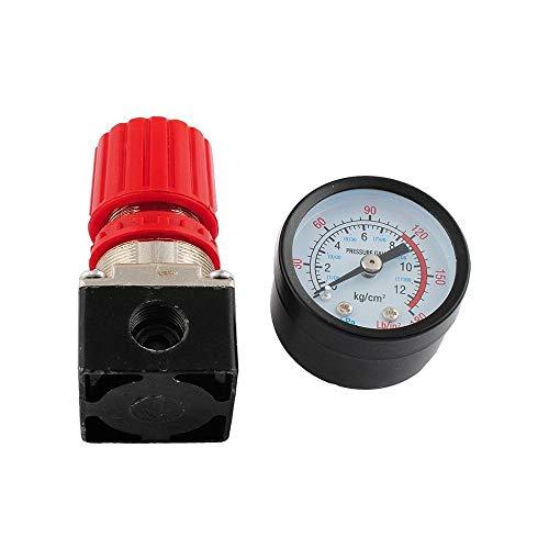 1/4' Druckminderer, COSMOERY Druckregler Druckregelventil Druckschalter Regelventil Druckschaltventil mit Manometer ohne Kupplung 175 PSI für Luftverdichter, LuftDruckregler Kompressor - 3 Löcher