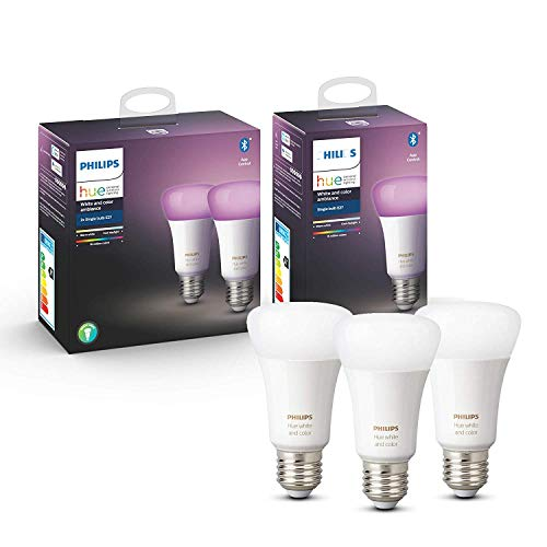 Philips Hue White and Color Ambiance Pack 3 bombillas LED inteligentes E27, luz blanca y de colores, compatible con Bluetooth y Zigbee (Puente Hue opcional), funciona con Alexa y Google Home