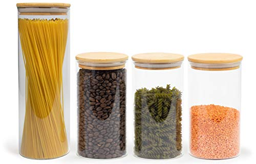 Elwin Neiles® Vorratsglas mit Deckel [1x 1700ml / 3X 1100ml] - 100% luftdichte & stapelbare Glasbehälter - mottensichere Gläser - Vorratsdosen Glas