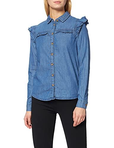 Springfield Camisa Volantes, Azul Medio, 40 para Mujer