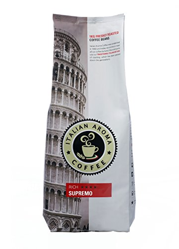 Italian Aroma Coffee SUPREMO (Whole Bean 1KG) – silky and luxurious - brings you the traditional flavours of Italian coffee