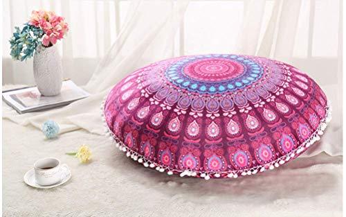 Funda de almohada de Navidad, diseño de mandala indio, redondo, cojín de asiento de coche, funda de almohada de estilo bohemio, funda de almohada informal de 45 cm x 45 cm (J3)