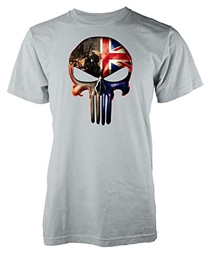 Omaio Union Jack Punish Man Skull GB Flag T Shirt 3XL Grey